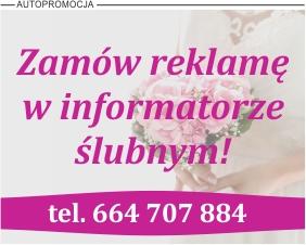 Informacja na temat możliwości reklamy w informatorze ślubnym